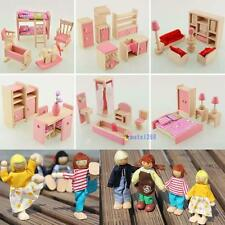 Wooden Dolls House Furniture Miniature 6 Room For Kids Children Toy Gifts Hot KK