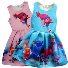 Kids Trolls Poppy Dress Costume Girls Princess Tutu Party Fancy Dresses 2-10Y UK