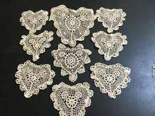 New - Some with Tags ~9 Heart-Shaped Ecru Crocheted Doilies - 5 to 9""