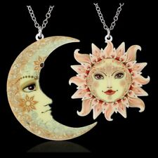 Fashion Womens Sweater Chain Jewellery Printing Flower Moon Sun Pendant Necklace
