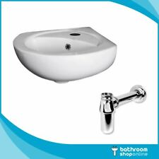 Cloakroom Small Corner Basin Sink Wall Hung Tap & Trap Compact Set