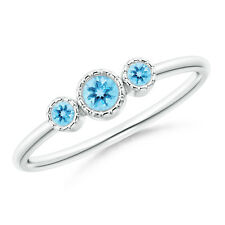 Bezel Set Round Swiss Blue Topaz Three Stone Ring 14k White Gold/ Silver