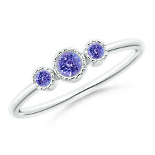 Bezel Set Round Tanzanite Three Stone Ring 14k White Gold/ Silver Size 3-13
