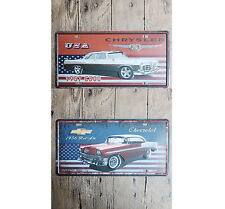 Chevy Bel Air Chrysler C300 License Plate Metal Tin Sign Muscle Garage Decor Ad