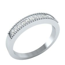 Half Eternity Band 0.15 Ct Round Cut D/VVS1 Real Gold Anniversary Band Fine Ring