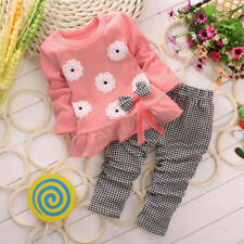 2017 Autumn Winter Girls Clothes Suit T-shirt+Pants Outfit Kids Baby Christmas 1