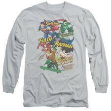 JUSTICE LEAGUE COLLAGE of Heroes Licensed Adult Long Sleeve T-Shirt S-3XL