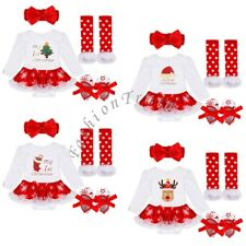 4PCS My 1st Christmas Santa Baby Girl Romper Fancy Tutu Dress Outfit Clothes US!