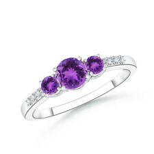 Three Stone Round Amethyst Diamond Engagement Ring in 14k White Gold Size 3-13