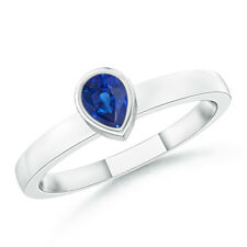 Solitaire Pear Blue Sapphire Stackable Ring 14k White Gold/ Platinum Size 3-13