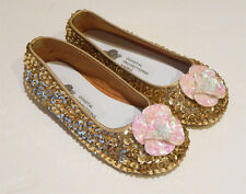 COASTAL PROJECTIONS GOLD & IVORY SEQUIN FLOWER GIRLS SHOES FLATS 7 11 3Yth 4Yth