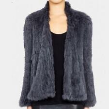NEW& Womens Woven fur 100% Genuine Real Rabbit Fur Knit Coat Jacket High Quality