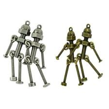 2pcs Retro Robot Charms Antique Silver/Bronze Robot Pendants Fit Necklace