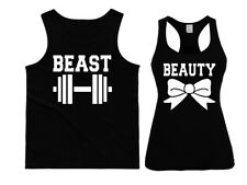 Beauty and Beast Couple Matching Tank tops. Power couple His&Hers workout tops