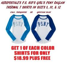 2 BRAND NEW AEROPOSTALE PS KIDS GIRLS RAGLAN THERMAL SHIRTS TOPS SIZES 8 10 12