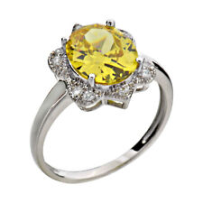 Yellow Cubic Zirconia Halo Sterling Silver Jewelry Women Wedding Engagement Ring
