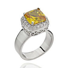 Yellow Cubic Zirconia Halo Sterling Silver Women Wedding Engagement Ring