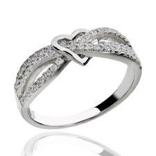 Sterling Silver Cubic Zirconia Heart Knot Women Jewelry Wedding Engagement Ring