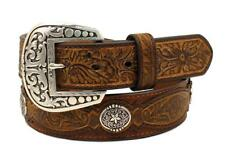 Ariat Western Mens Belt Leather  Embossed Overlays Conchos Brown A1031402