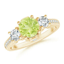 Prong Set Round Peridot & Diamond Three Stone Ring 14K Yellow Gold