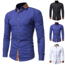 Mens Stylish Plus Size Casual Button Down Long Sleeve Slim Fit Dress Shirt Tops