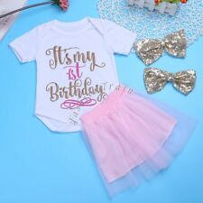 3Pcs My 1st Birthday Baby Girls Outfits Romper Tutu Skirt Dress Headband 0-12 M