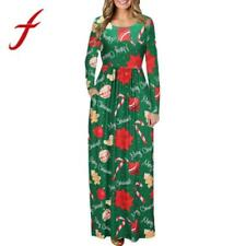 Feitong Women Autumn Dress Ladies Christmas Print Long Sleeve Dress Evening Part