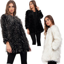 UK Women Spike Fluffy Shaggy Faux Fur Warm Coat Cardigan Jacket Lady Outwear UK