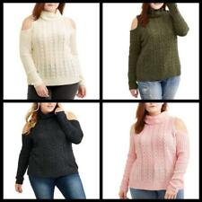 Womens Plus Turtle Neck Faded Glory Cold Shoulder Outdoor Casual wear Sweater