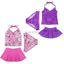 3PCS  Kids Baby Girls Halter Tankini Bikini Swimwear Beach Bathers Swimsuit 2-14
