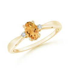 Citrine Solitaire Ring with Diamond Accents 14K Yellow Gold