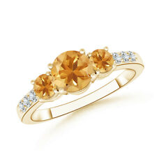 Three Stone Round Citrine Ring with Diamond Accents 14K Yellow Gold