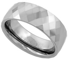 8mm Tungsten Ring Men Women Wedding Band Faceted Dome Stone Pattern Comfort Fit