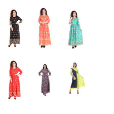 Indian Designer Rayon Long Boho Maxi Kurta Kurti Gold Print Beach Wear Sun Dress
