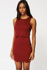 Ladies Textured Double Layered Split Top Dress - Womens Party Dress Evening NEW