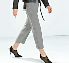 ZARA Black White Houndstooth Cropped Trousers Woman BNWT Authentic 8315/764