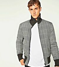 ZARA Grey Quilted Check Jacket Elastic Collar Gents Man Authentic S M L 6719/304