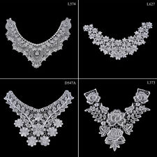 1PC Embroidered Floral Lace Neckline Neck Collar Trim Clothes Sewing Patch LJ