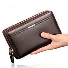 Business Men Wallets Long Pu Leather Cell Phone Clutch Wallet Purse Bag Zipper