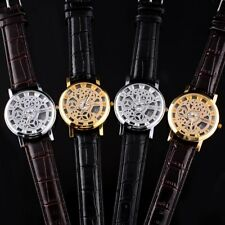 Skeleton Mens Leather Band Quartz Stainless Steel Silver Wrist Watch Hour NEW