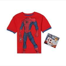 Boys Marvel Spiderman T-Shirt  Short Sleeve Cotton Red Size 7 NWT