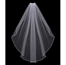 Bridal veil Elbow Classic 1T White/ivory Beaded Edge  Wedding Veil+Comb
