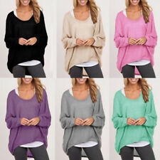 Ladies Womens Blouse Long Sleeve Loose Plus Size Plain Irregular Pullover Tops