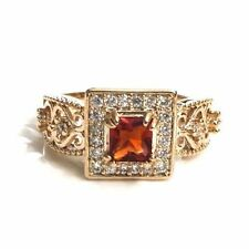Red Ruby Diamond Ring Engagement Wedding Gift Women Jewelry 18K Rose Gold Plated