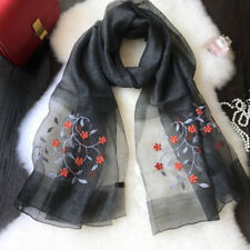 Women Ethnic Embroidery Flower Artificial Silk Soft Winter Scarves Shawls Showy