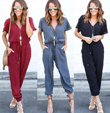 Ladies Women Short Sleeve V Neck Plain Jumpsuit Playsuit Romper Evening Party