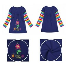 Kids Girls Flower Applique Princess Dress  Long Sleeves Casual Striped Clothes