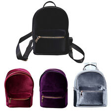 Velvet Backpack Zipper handbag Mini Satchel Retro Girl School Bag Handbag