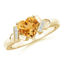 Solitaire Citrine Diamond Heart Ring 14K Yellow Gold