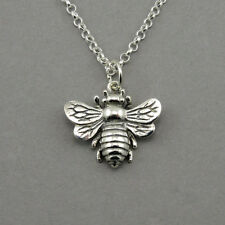 Honey Bee Necklace - 925 sterling silver bee jewelry, save the bees, pendant